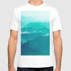 Mountain Waves White MEDIUM Mens Fitted Tee