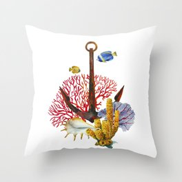 Anchor and corals Throw Pillow