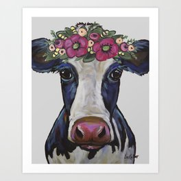 Colorful Cow Art, Georgia the cow with Flower crown Art Print