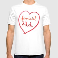 Feminist Bitch LARGE Mens Fitted Tee White
