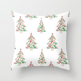 Made of paw print Christmas tree. Christmas and Happy new year seamless fabric design pattern white background Throw Pillow