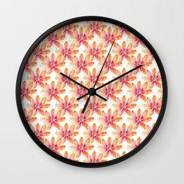 Orange Flowers Pattern Wall Clock
