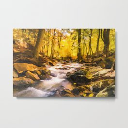 Wild waterfalls flowing through a forest Metal Print