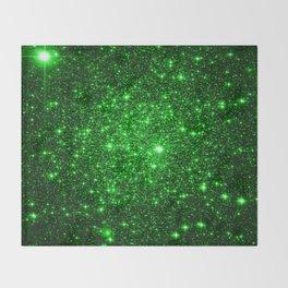 gAlAXy Green Sparkle Stars Throw Blanket