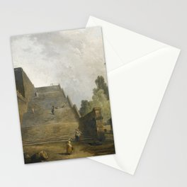 Hubert Robert PARIS 1733 - 1801 FIGURES WALKING UP A MONUMENTAL STAIRCASE Stationery Cards