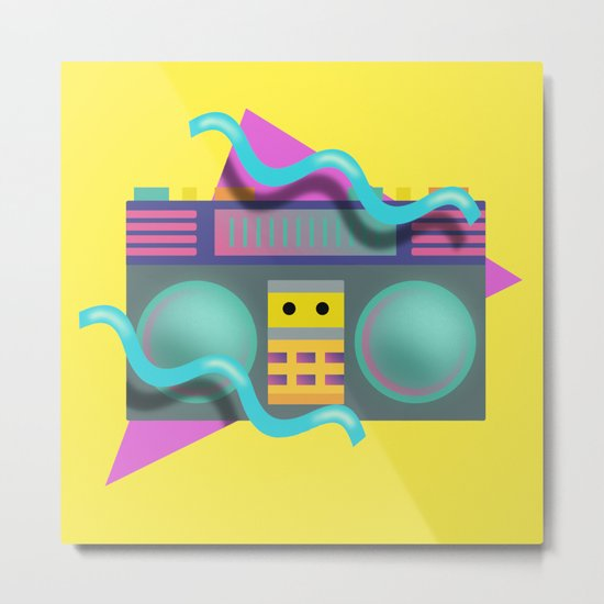 Retro Eighties Boom Box Graphic Metal Print