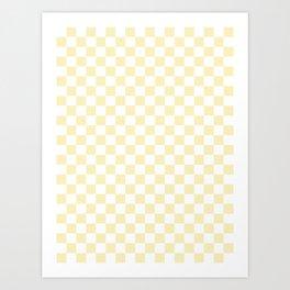 Small Checkered - White and Blond Yellow Art Print