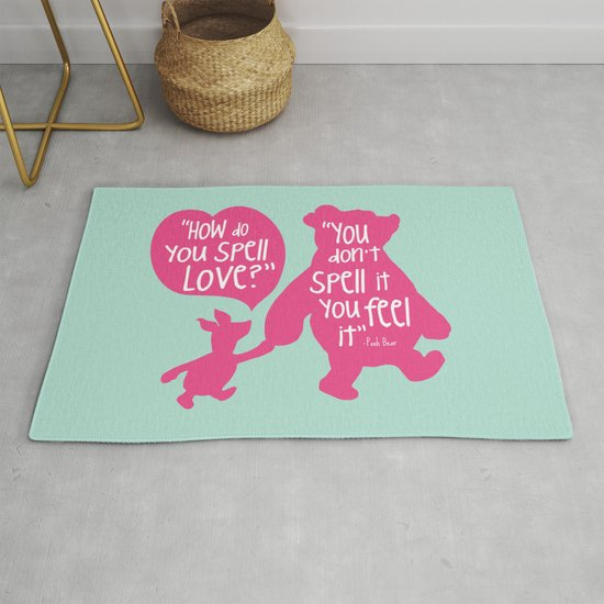 How Do You Spell Love You Don T Spell It You Feel It Winnie The Pooh Rug By Kitchenbathprints