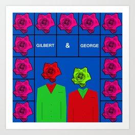 Portrait of Gilbert and George, illustration, pop culture Art Print