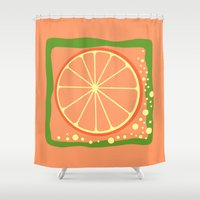 coasters Shower Curtains featuring GRAPEFRUIT by Tanya Pligina