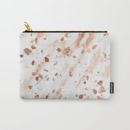 Pink Quartz Terrazzo + Rose Gold Marble Carry-All Pouch
