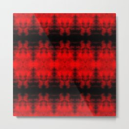 Red Black Diamond Gothic Pattern Metal Print