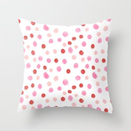 Dots pointed polka dot pattern red pink pastel painterly dot Throw Pillow