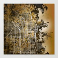chicago map Canvas Prints featuring chicago by Bekim ART