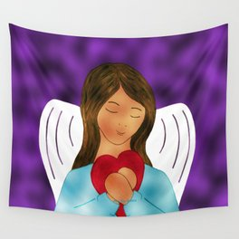 You Are Loved Expressed By Angel Wth Heart By Annie Zeno Wall Tapestry