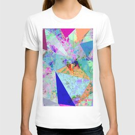 vintage psychedelic triangle polygon pattern abstract in blue pink green yellow T-shirt
