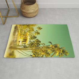 palm love in tropical green gold jewel tones Rug