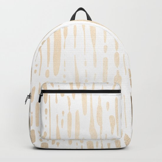 White Gold Sands Modern Vertical Dotted Lines Backpack
