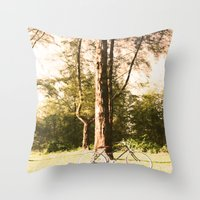 cycling Throw Pillows featuring Gone Cycling by AhleetleFang