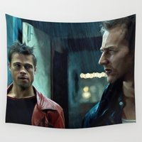 brad pitt Wall Tapestries featuring Edward Norton and Brad Pitt by Gabriel T Toro