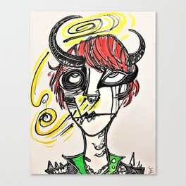 """Cute, Abstract Demon Girl Design. """"Horrid Little Pistols (#1) Valerie"""" Canvas Print"""