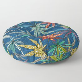 boho weed classic blue Floor Pillow