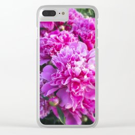 Pink Peonies Tilt Shift with Border Clear iPhone Case