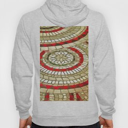 Mosaic Circular Pattern In Red and Gold Hoody