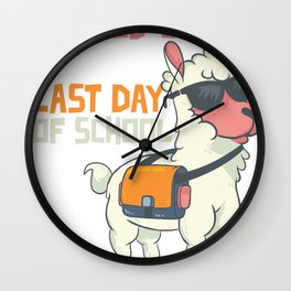 No Prob-llama It's the last day of school Funny Llama design Wall Clock