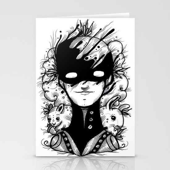 Guardians of the Woods (Black & White Version) Stationery Cards