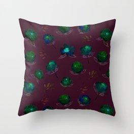 Watercolored rosie- aqua blue Throw Pillow