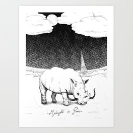 Rhino during Midnight in Paris Art Print