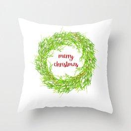 Merry Christmas Pine Wreath Throw Pillow
