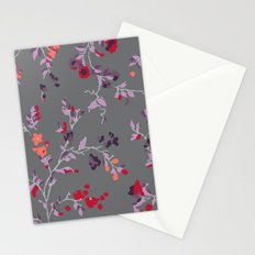 floral vines - dark grey and lilacs Stationery Cards