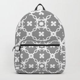 White floral vines on grey Backpack