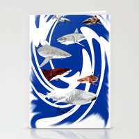 sharks Stationery Cards featuring Sharks. by Sylvie Heasman