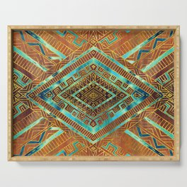 Tribal  Ethnic Boho Pattern burnt orange and gold Serving Tray