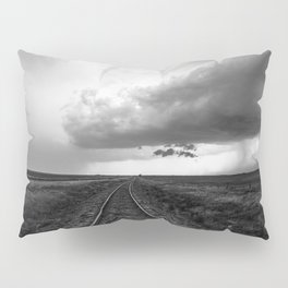 A Dreamer's Journey - Railroad Tracks and Storm in Black and White Pillow Sham