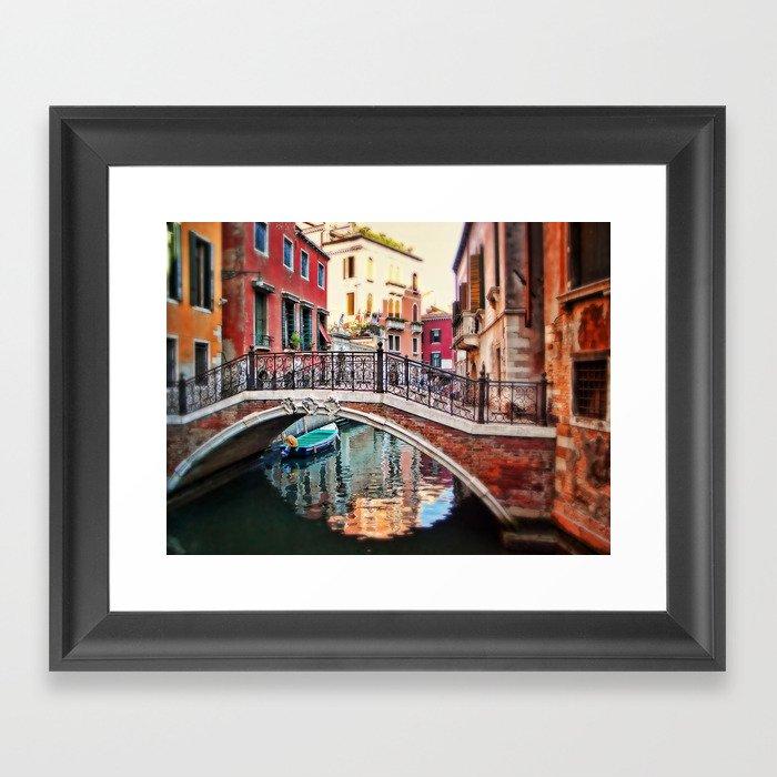 the blue boat Framed Art Print