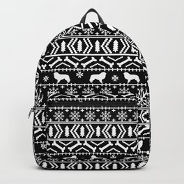 Great Pyrenees fair isle dog breed silhouette christmas pattern black and white Backpack