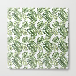 Tropical leaves. Watercolor hand-painted exotic plants. Metal Print