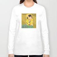 gustav klimt Long Sleeve T-shirts featuring The Kiss (Lovers) by Gustav Klimt  by Alapapaju