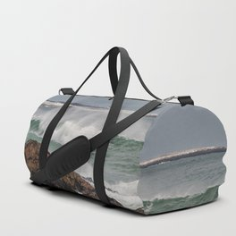 Green waves with twin lights Duffle Bag