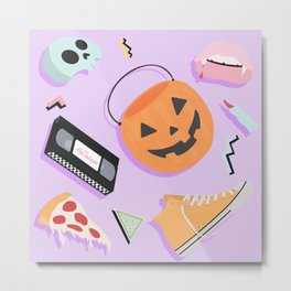 90s Halloween Pumpkin Childhood Print   Metal Print