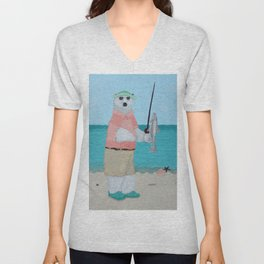 Polar Bear Fishing Unisex V-Neck