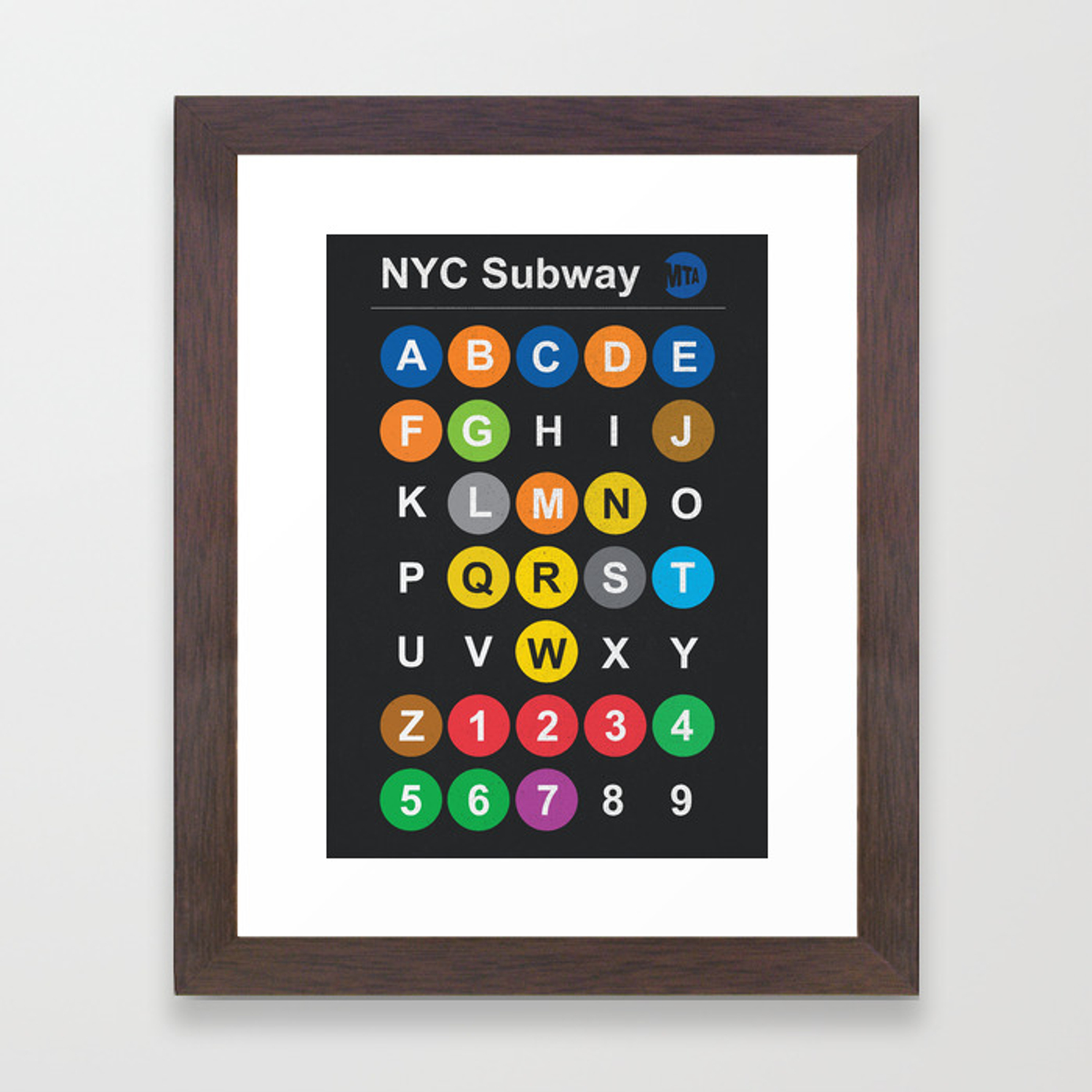 Framed New York Subway Map.New York City Subway Alphabet Map Nyc Lettering Illustration Dark Version Usa Typography Framed Art Print
