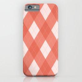 Pantone Living Coral Argyle Plaid, Diamond Pattern iPhone Case