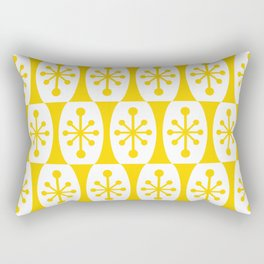 Mid Century Modern Atomic Fusion Pattern Yellow Rectangular Pillow