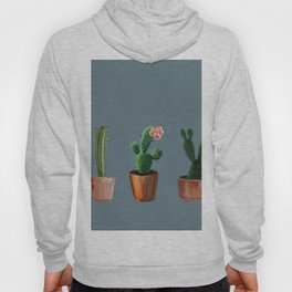 Three Cacti On Blue Background Hoody