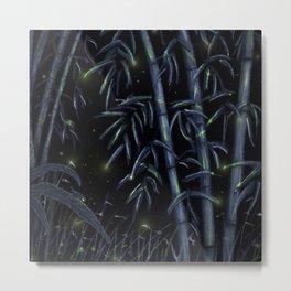 Bamboo Forest Fireflies Metal Print